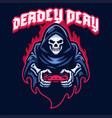 gaming mascot logo grim reaper skull playing game vector image