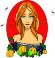 girl autumn goddess beauty woman with vector image