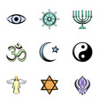 god icons set cartoon style vector image vector image