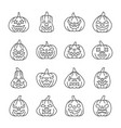 halloween pumpkin with carving face line icon set vector image vector image
