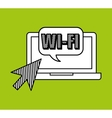 hand draw laptop wifi social network media vector image vector image