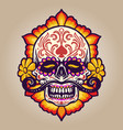 hand drawn dia de muertos skull with flowers vector image