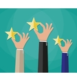 Hands of customers placing rating stars vector image vector image