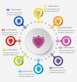 infographic template with shield icons vector image vector image