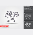 island with palm trees line icon with editable vector image