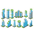 isometric futuristic skyscrapers icon set vector image vector image