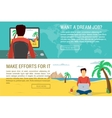 Man dreaming another man working at nice place vector image vector image