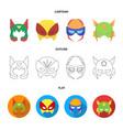 mask on the head helmetmask super hero set vector image