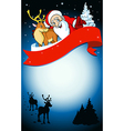 merry christmas frame with santa reindeer and snow vector image vector image