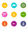 military member icons set flat style vector image vector image