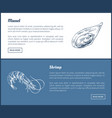 mussel and shrimp double color graphic vector image