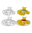 nachos - mexican traditional food vintage vector image