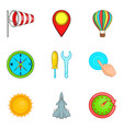 non-flying weather icons set cartoon style vector image vector image