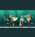 people in aquarium design composition vector image vector image