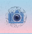 photocamera icon with magnolia flowers vector image