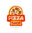 pizza shop logo design template label of pizza vector image vector image