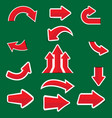 red arrow sticker on green background vector image vector image