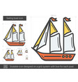 sailing boat line icon vector image vector image