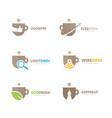 set coffee logo combination drink and tea vector image