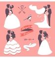 set elegant wedding couples in silhouette vector image vector image