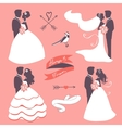 Set of elegant wedding couples in silhouette vector image vector image