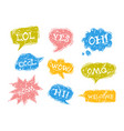 set of speech bubbles in comic style with rough vector image vector image