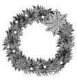 silhouette pine arch with poinsettia christmas vector image vector image