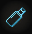 usb flash drive icon in neon line style vector image