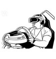 virtual reality with steering wheel vector image vector image