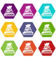 wedding cake icon set color hexahedron vector image vector image