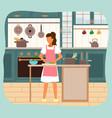 woman prepares spaghetti on her modern kitchen vector image