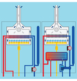 Gas boilers with heat exchanger vector image