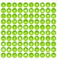 100 summer holidays icons set green