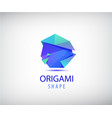 abstract origami logo 3d facet shape vector image