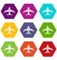 aircraft icons set 9 vector image vector image