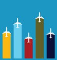airplane travel in color set vector image vector image