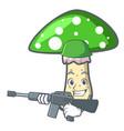 army green amanita mushroom character cartoon vector image vector image