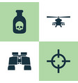 army icons set collection of danger chopper vector image vector image