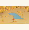 autumn scenic top view park with yellow vector image