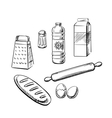 Bakery ingredients and utensil icons vector image