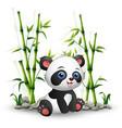 bapanda sitting among bamboo stem vector image vector image