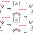 Bear princess line fun seamless pattern for kids vector image vector image