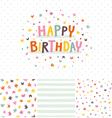 birthday card and seamless patterns set vector image vector image