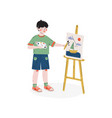 boy painting picture on easel hobby education vector image vector image