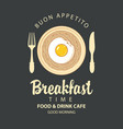 breakfast banner with pasta fried egg and cutlery vector image vector image