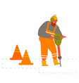 builder with pneumatic jackhammer drill equipment vector image
