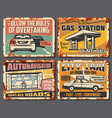 car service garage station taxi and gas station vector image