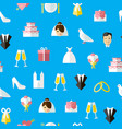 cartoon wedding symbols seamless pattern vector image