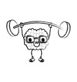 cartoon with glasses train the brain with happy vector image vector image