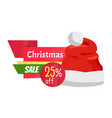christmas sale promo label with santa claus hat vector image vector image